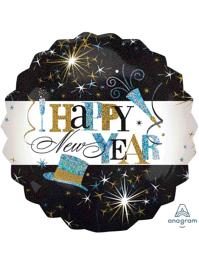 "28"" Hapy New Year Elegant Celebration Balloon"