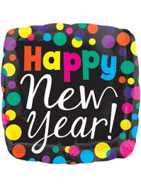 """21"""" Happy New Year Dots Balloon"""