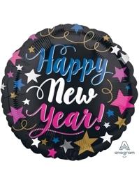 "17"" New Years Pinik & Blue Balloon"