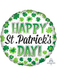 "17"" Happy St. Patrick's Day Shamrocks Balloon"