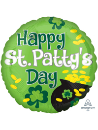 """17"""" Happy St. Patty's Day Pot of Gold Balloon"""