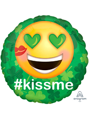 "17"" St. Patty's Day Kiss Me Emoticon Balloon"