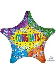 """19"""" Stream Explosion Congrats Balloon"""