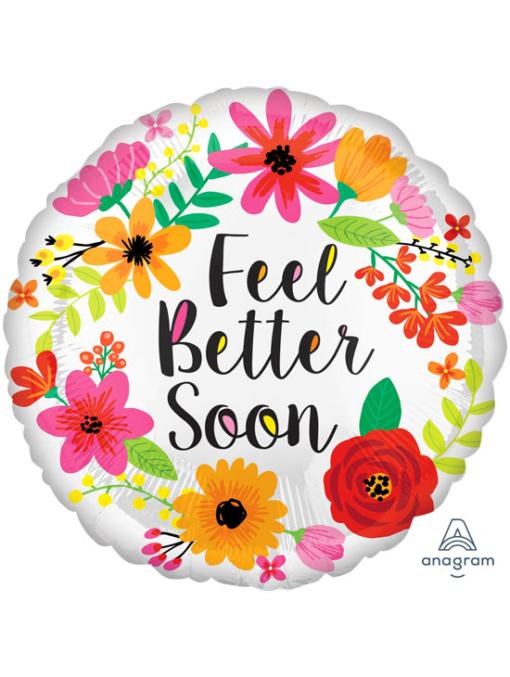 """17"""" Feel Better Soon Floral Wreath Balloon"""