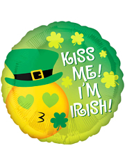 "17"" Kiss Me Emoticon St. Patty's Balloon"