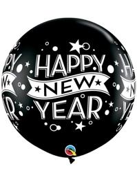"36"" Black Confetti Dots New Year Balloon"