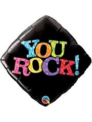 """18"""" You Rock Black Congrats Balloon"""