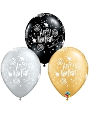 "11"" Happy New Years Swirling Stars Balloon Assortment"
