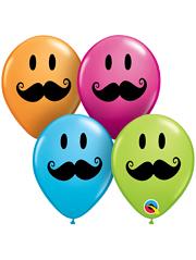 "5"" Smiley Face Mustache Balloon Assortment 100 Count"