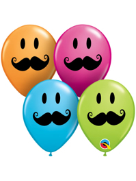 "5"" Smiley Face Mustache Balloon Assortment 100 Count"