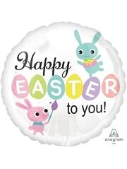 "17"" Paint Brush Bunnies Foil Easter Balloon"