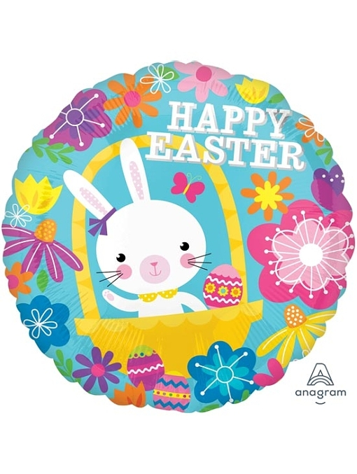 """17"""" Easter Bunny Floral Easter Balloon"""