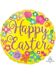 """17"""" Floral Happy Easter Foil Balloon"""