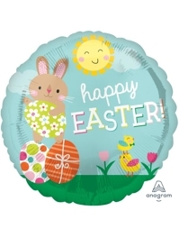 "17"" Happy Easter Bunny & Chicks Foil Balloon"