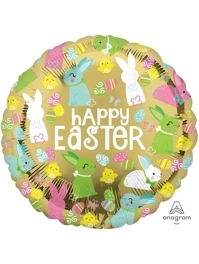 "17"" Happy Easter Gold Foil Balloon"