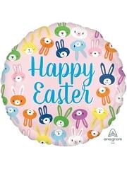 "17"" Happy Easter Cute Bunny Faces Balloon"