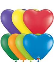 "6"" Qualatex Carnival Assortment Heart Shape Balloon 100 Count."