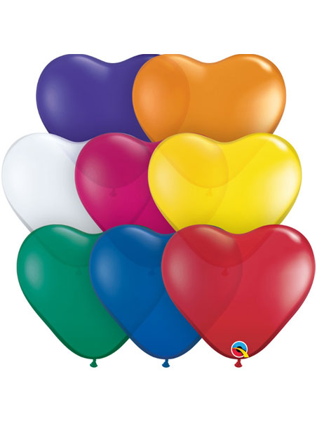 "Qualatex 6/"" Jewel Heart Assortment Balloons~100 ct."