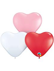 "6"" Qualatex Sweetheart Assortment Heart Shape Latex Balloon 100 Count."