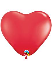 "6"" Qualatex Red Heart Shape Latex Balloon 100 Count."