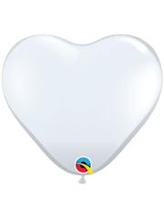 "6"" Qualatex White Heart Shape Latex Balloon 100 Count."