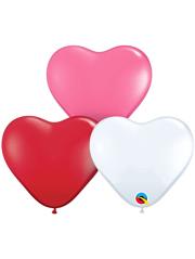 "6"" Qualatex Love Assortment Heart Shape Latex Balloon 100 Count."