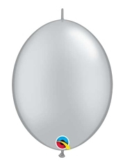 "12"" Silver Qualatex Quicklink Balloons 50 Count"